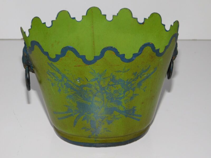 MADE IN ITALY TOLEWARE 2 HANDLED CACHE POT PLANTER VASE LION HEAD HANDLES