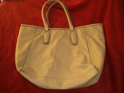 Kelly & Katie Simulated Leather Tote Handbag Large ~ Pre-owned ~ Cream Colored (Kelly Tote Handbag)