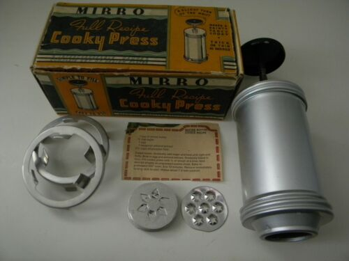 Vintage Mirro Full Recipe Cooky Press in Box With Design Plates Cookie Press