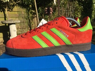 Adidas Gazelle Red & Green ADI Suede CW Malmo Size 8 80s Football Casuals