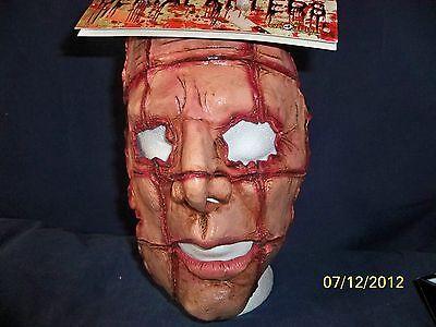SERIAL KILLER 6 LATEX MASK GORY CRISS CROSSED BLOODY FLESH CUTS COSTUME TB26046 (Criss Cross Halloween Costume)