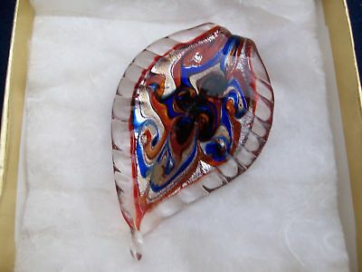 Art Glass Pendant Necklace Blue Red Swirled Reversible Valentine No Chain