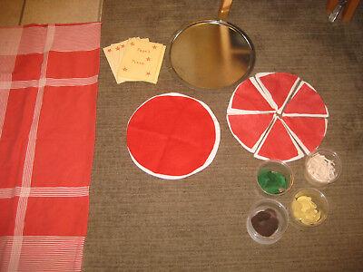 handmade pizza role play kit pizzas restaurant preschool fabric menus tablecloth, used for sale  Utica