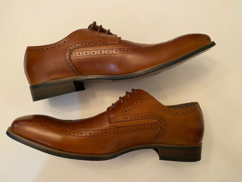 Asher Green Brown Leather Oxford Wingtip Men's Shoes New S