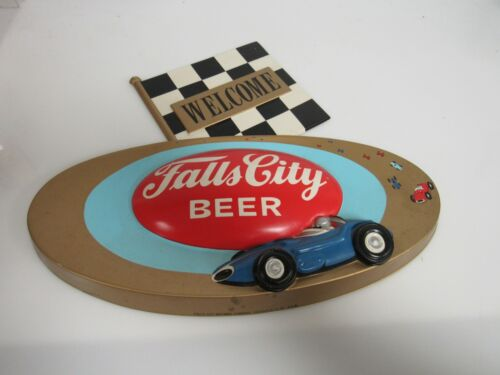 Rare Vintage Falls City Beer Indy Racing Welcome 3-D Plastic 1966 Sign SB322