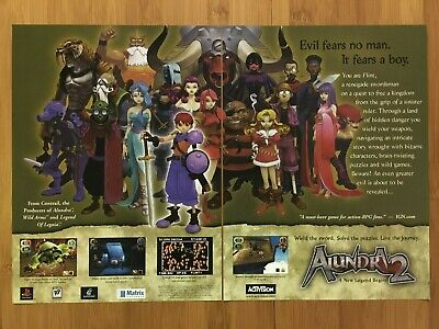 Alundra 2 PS1 Playstation 1 2000 Vintage Print Ad/Poster Official RPG Promo Art