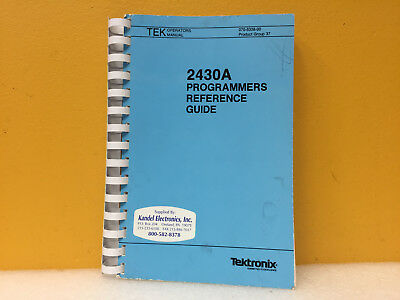 Tektronix 070-6286-01 2430a Digital Oscilloscope Operators Manual