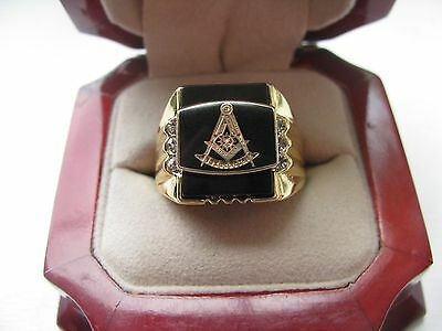 "Superb NEW! Gold Mens ""Masons"" Past Master CREST Ring"