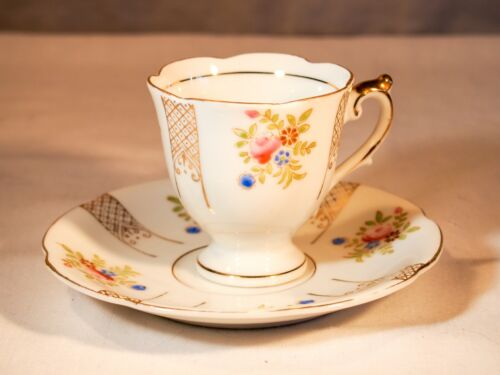 UCaGCo Occupied Japan Floral Matching White Decorated Teacup & Saucer Porcelain