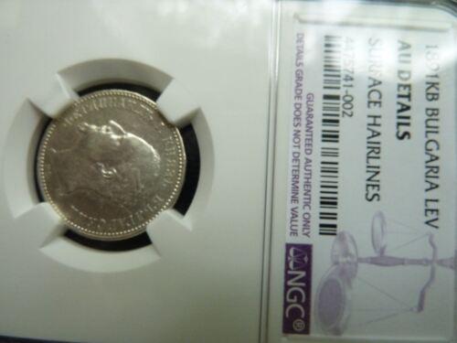Bulgaria, Bulgarian 1891 KB Lev Silver Coin, Certified NGC AU Details