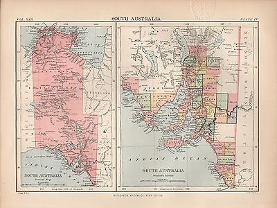 1880 ca ANTIQUE MAP-AUSTRALIA, SOUTH AUSTRALIA, 2 IMAGES