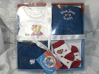 BLUE JEAN TEDDY BEAR 4-PC OUTFIT SHIRT/PANTS/HAT/SOCKS FOR BABY GIRL 0-3 MONTHS