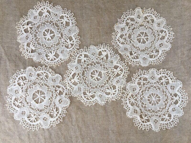 """Antique set 5 doilies coasters cluny bobbin lace  5.5"""" Flower Design"""