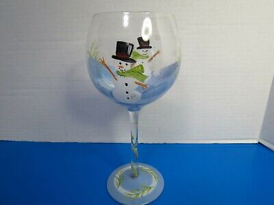 Home Essentials Frosty Snowflake Hand Painted Wine Glasses Set Of 4 New In Box