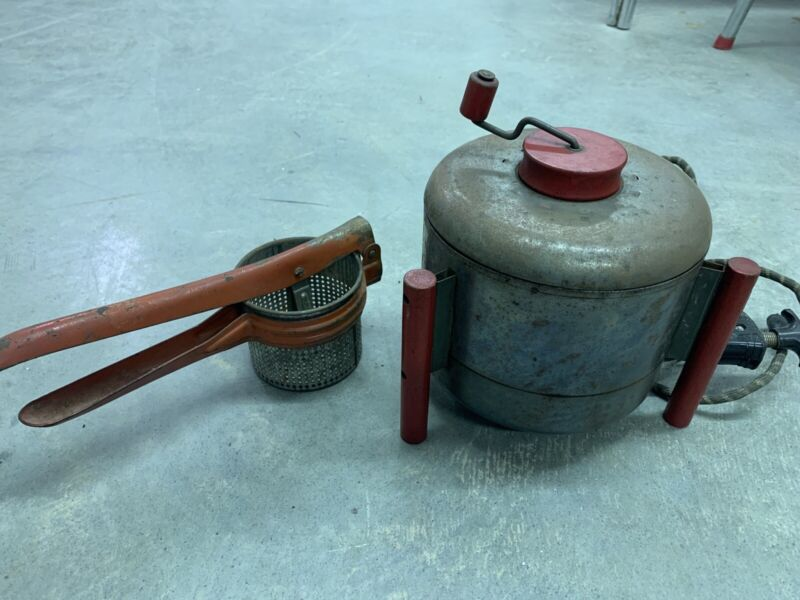 Red Vintage Electric Rocket Retro Popcorn Popper And Antique Strainer Lot