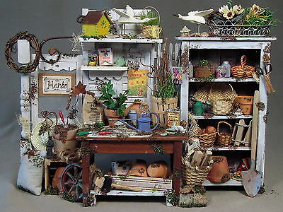 Handmade Garden Potting Bench Artisan Dollhouse Miniatures 1:12 Scale OOAK