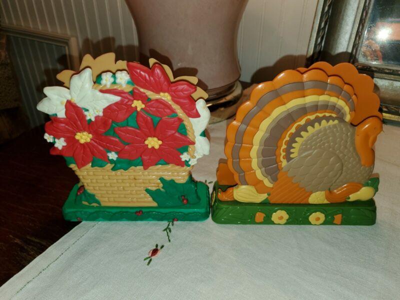 Vintage Avon Napkin Holders - Thanksgiving Turkey and Poinsettia Basket Inc.Ship