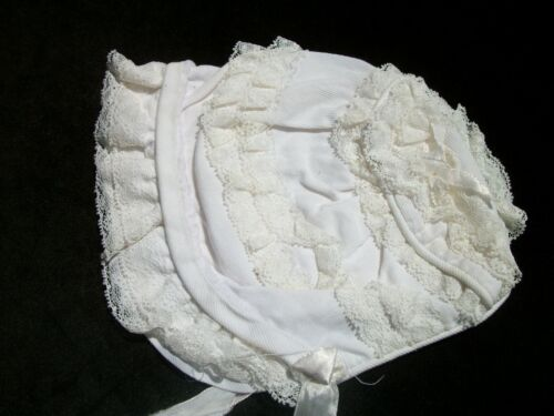 Vintage Baby Bonnet Trimmed in Lace Frilly White Doll Cap A