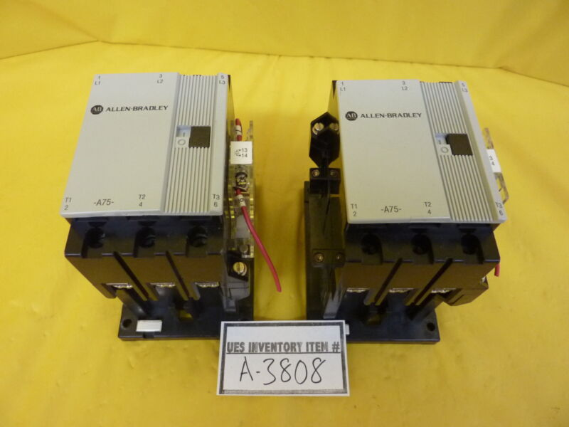 A-B Allen-Bradley 100-A75N*3 600VAC Contactor Reseller Lot of 2 Used Working