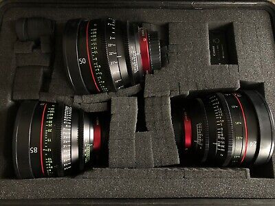 Great Lot of (3) Canon CN-E Camera Prime Lens Kit Set w/ 24mm 50mm 85mm EF Mount