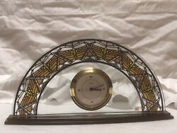 Beautiful STAINED GLASS Tiffany Style Bulova Mantle Table/Desk Clock