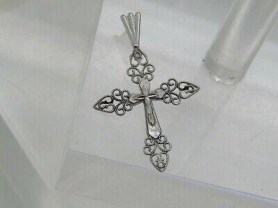THIN FLAT 14k White Gold Filigree Scalloped Religious Cross Necklace Pendant