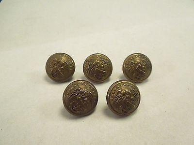Vintage Set of 5 Horstmann Philadelphia Brass WWII Marine Buttons-Eagle & Anchor
