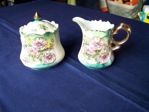 Vintage LEFTON CHINA Hand Painted SUGAR & CREAMER Set Green & Pink Flowers