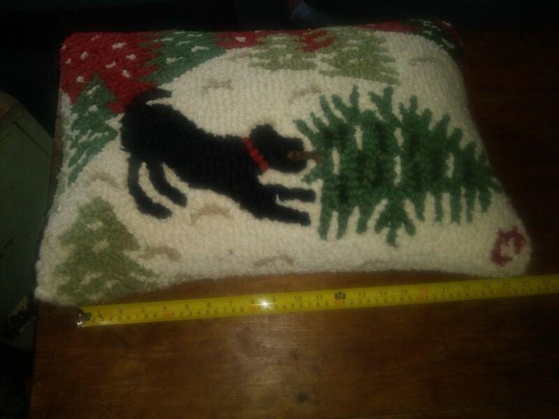 Chandler 4 Corners Christmas pillow black lab Labrador dog snow tree holiday