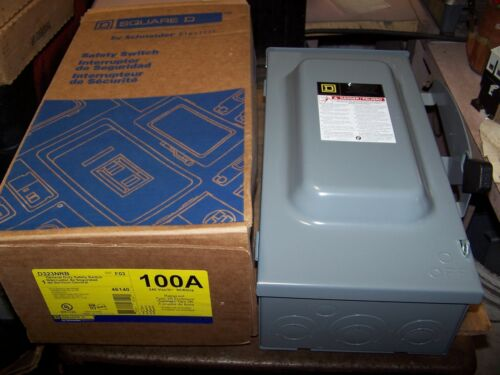 NEW SQUARE D 100 AMP FUSIBLE SAFETY SWITCH 240 VAC NNEMA 3R OUTDOOR D323NRB