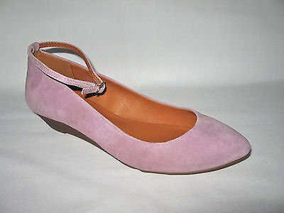 MADEWELL BRAND NEW (NIB) SUEDE ANKLE WRAP MINI WEDGE Color:Violet Haze