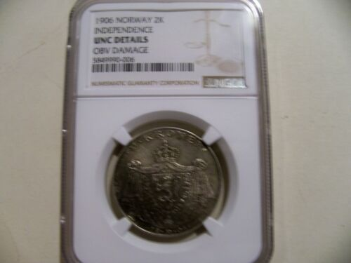 """Norway 1906 """"Independence"""" 2K silver coin NGC UNC details"""