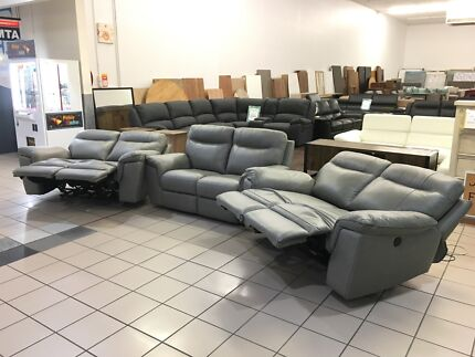 100% LEATHER LOUNGES - FACTORY SECOND, EX DISPLAY...
