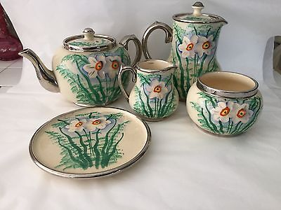 Art Deco England 5 piece hand painted daffodil narcissus tea and coffee set