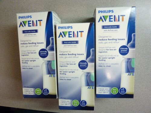 Philips Avent Anti-colic with AirFree vent Baby Bottle 9 oz. (Lot of 3)