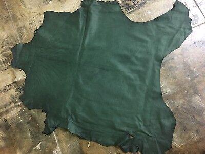 Italian Lambskin Veg Tanned Leather Skin Hide Lamb Grainy Pine Green - 8 Sq.Ft