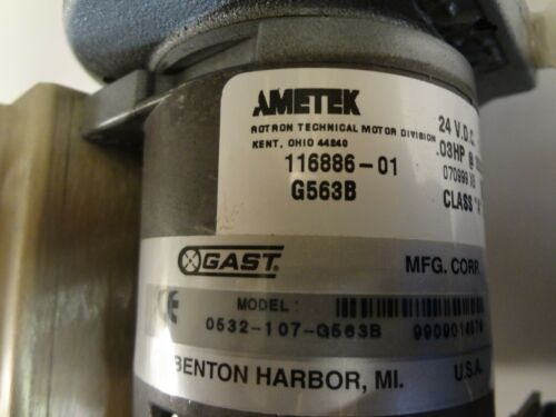 GAST VANE VACUUM PUMP/COMPRESSOR MODEL# 0532-107-G563B