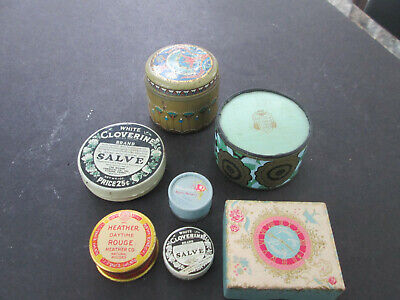 Vintage Lot of 7 Advertising Box Collection Tin & Board Art Deco Powder Rouge 55