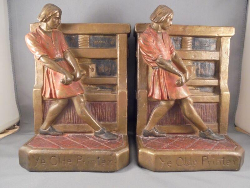Pair Antique Armor Bronze John Ruhl Ye Olde Printer Bronze Clad Bookends 1915