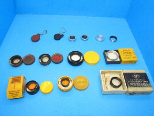 vintage lot of 13 tiny filters & adapters & lens caps Kodak Wollensak Agfa