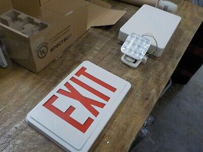 Spectsun Exit Sign With Emergency Light Red Emergency Exit Lights With Battery