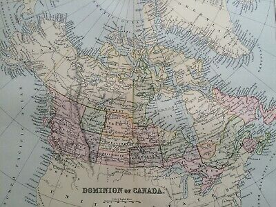 1891 Dominion of Canada Original Antique Map Vintage Old Wall map