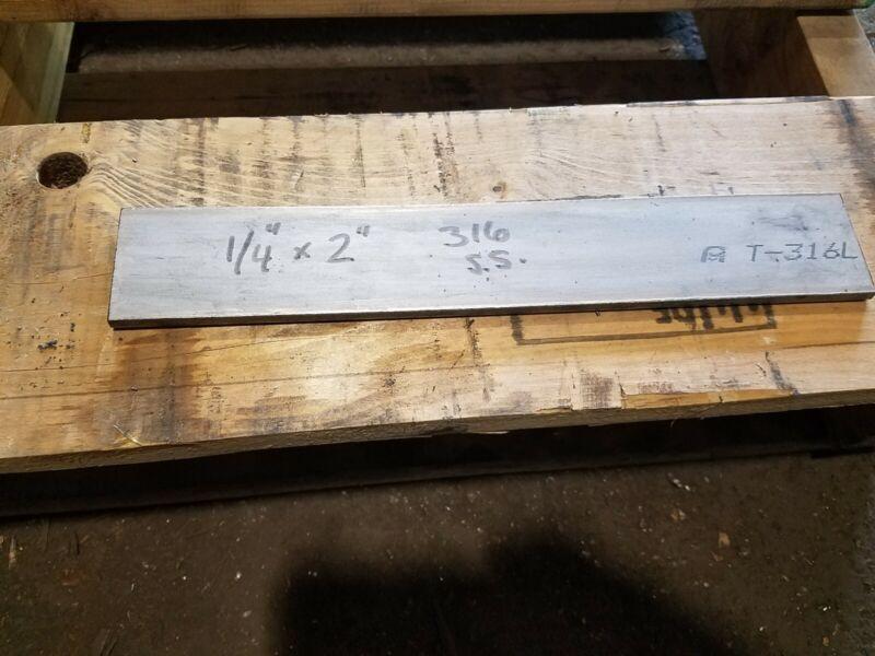 "316 Stainless Steel Flat Bar,  1/4"" x 2"" x 12"""