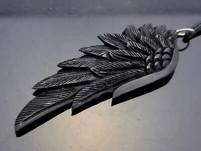 Double Angel Wing (Wing Bird Angel Black Horn Carved Natural Double Sided Large Pendant)