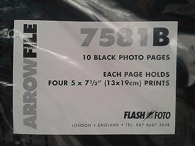 ARROWFILE 7581B BLACK PHOTO Pk of 10  5'' X 7.5'' 13cm X 19cm Acid-Free