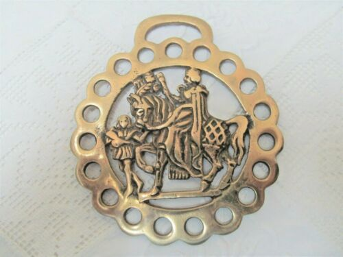 "Vintage English Horse Saddle Harness Brass 4"" Medallion Medieval Knights"