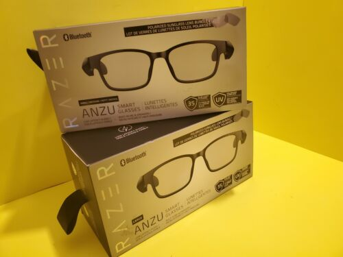 Razer - Anzu Smart Bluetooth Glasses Rectangle Frame Bundle Built-In Mic/Spk