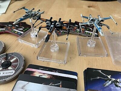 Star Wars X Wing T-70 Squad Of 3 Inc Poe Dameron Black Fighter Inc G1 Cards