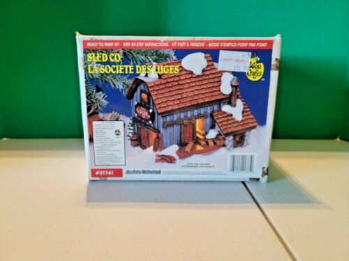 Brand New -  Wee Crafts Christmas Village Sled CO. Ready To Paint Kit 21761 NEW