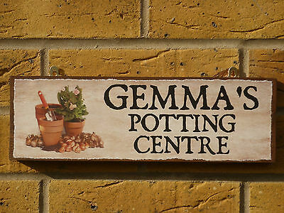 PERSONALISED GARDEN SHED SIGN SEED STORE PLANTS GARDEN POTS